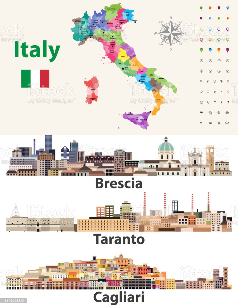 Map Of Italy With Main Cities.Italy Map With Main Cities Skylines Vector Illustration Stock