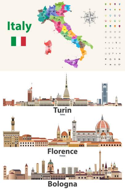 illustrazioni stock, clip art, cartoni animati e icone di tendenza di italy map with main cities skylines. vector illustration - firenze