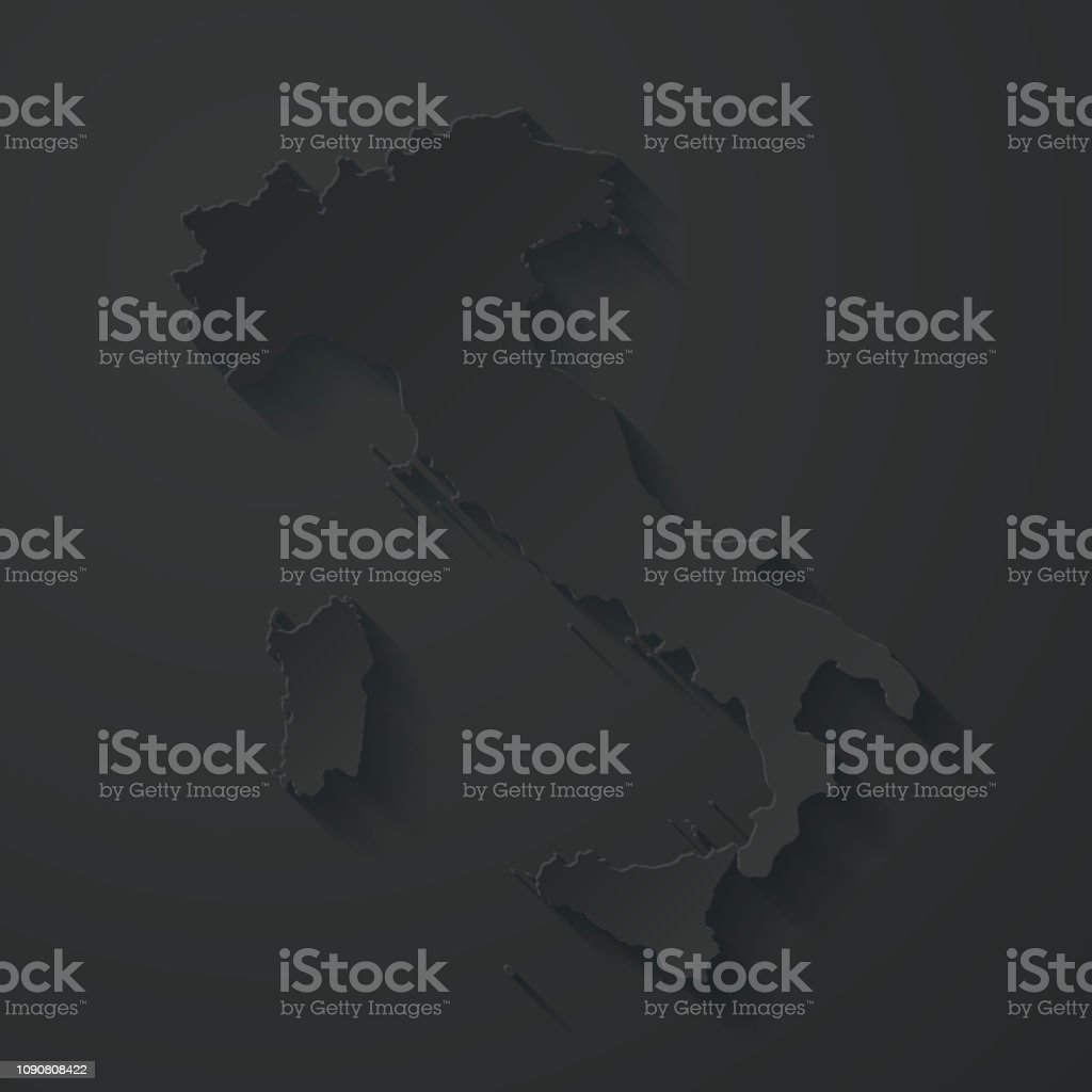 Italy map with paper cut effect on black background vector art illustration
