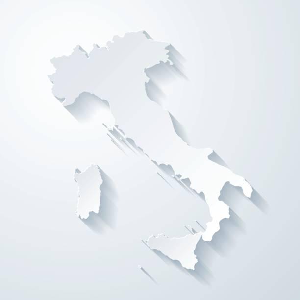 italien karte mit papier geschnitten wirkung auf leeren hintergrund - italien stock-grafiken, -clipart, -cartoons und -symbole