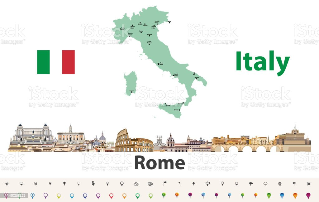 Italy Map With Rome City Skyline Icon Vector Illustration