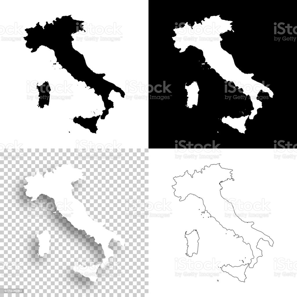 Italy Map Black And White.Italy Maps For Design Blank White And Black Backgrounds Stock Vector