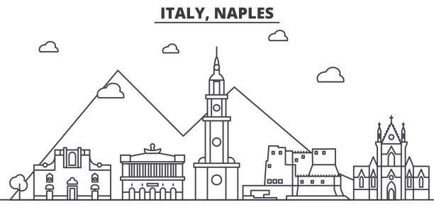 italien, naples architektur linie skyline abbildung. linearer vektor stadtbild mit berühmten sehenswürdigkeiten, sehenswürdigkeiten der stadt, design-ikonen. landschaft mit editierbaren striche - pompeii stock-grafiken, -clipart, -cartoons und -symbole