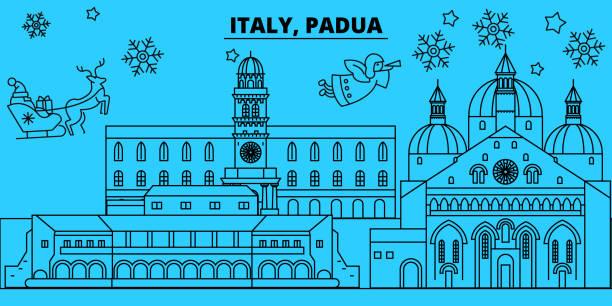 italien, padua winter urlaub skyline. merry christmas, happy new year dekoriert banner mit santa claus.italy, padua lineare weihnachten stadt flach vektorgrafik - padua stock-grafiken, -clipart, -cartoons und -symbole