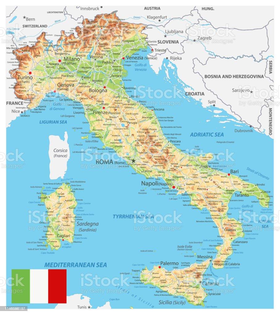 Mapa De Italia Fisico.Ilustracion De Mapa Fisico De Italia Y Mas Vectores Libres