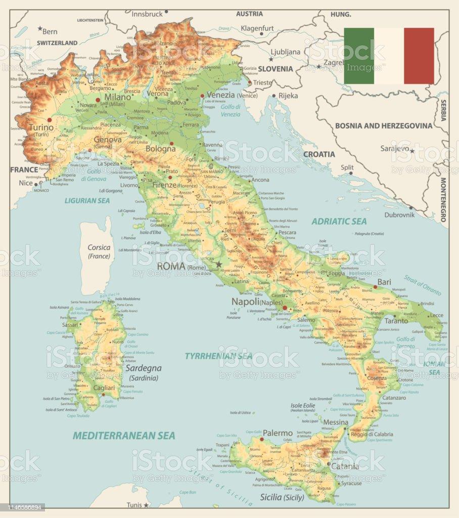Cartina Fisica Italia Golfi.Italia Mappa Fisica Vinatge Colori Immagini Vettoriali Stock E Altre Immagini Di Carta Geografica Istock