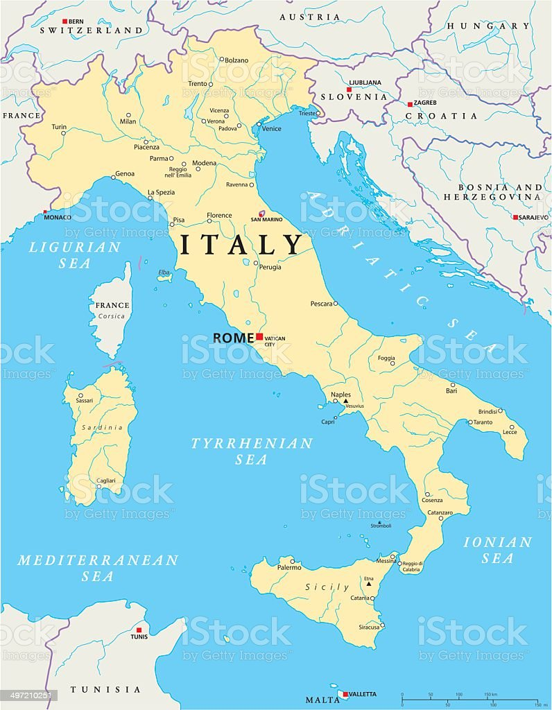 Italy Political Map Stock Vector Art More Images of Adriatic Sea