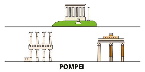 italien, pompeji flachlandmarken vektorabbildung. italien, pompeji-linie stadt mit berühmten reisehenswürdigkeiten, skyline, design. - pompeii stock-grafiken, -clipart, -cartoons und -symbole