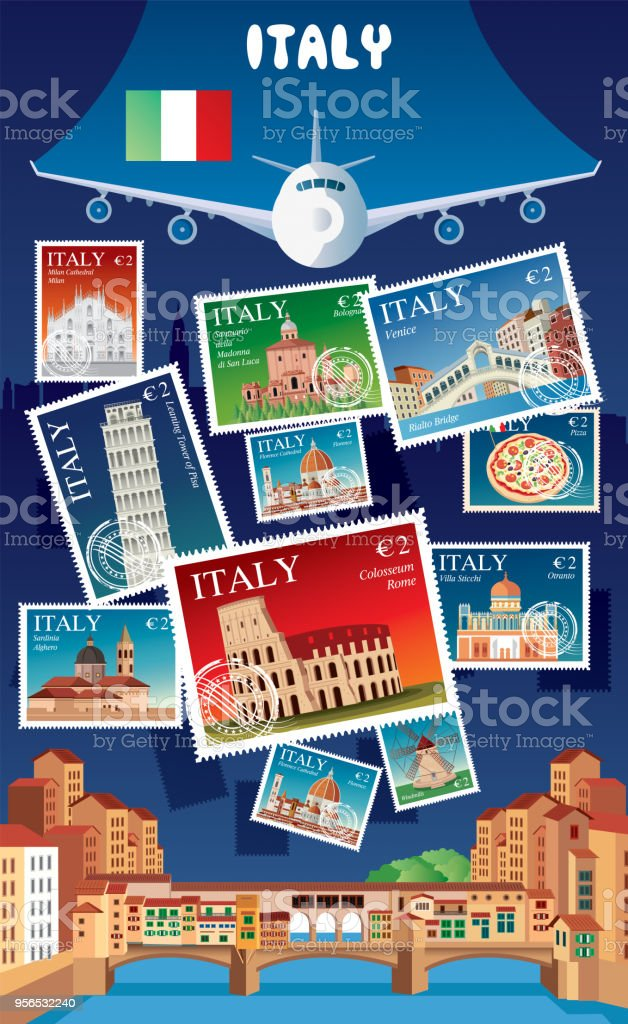 Italy Postage vector art illustration