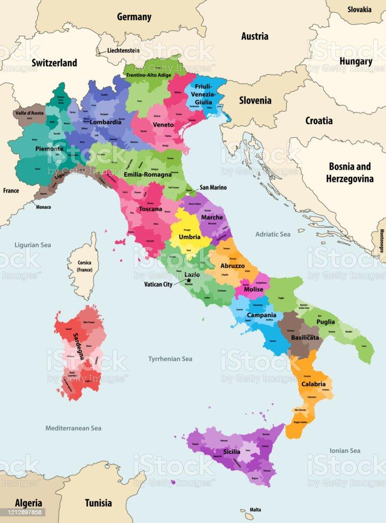 Italia Cartina Vettoriale.Italia Province Colorate Per Mappa Vettoriale Regioni Con Paesi E Territori Vicini Immagini Vettoriali Stock E Altre Immagini Di Abruzzo Istock