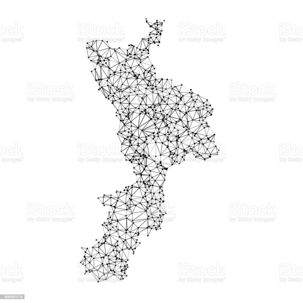 Black And White Map Of Italy.Italy Regions Calabria Map Network Black And White Stock