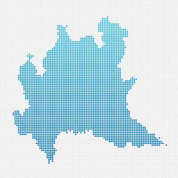 illustrazioni stock, clip art, cartoni animati e icone di tendenza di italia regioni lombardia mappa con motivo a punti blu - lombardia