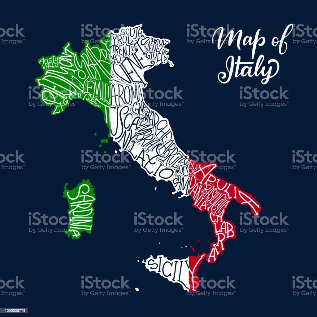 Karte Italien Regionen.Italienregionenkarte Im Vektor Skizzieren Schriftzug Stock Vektor