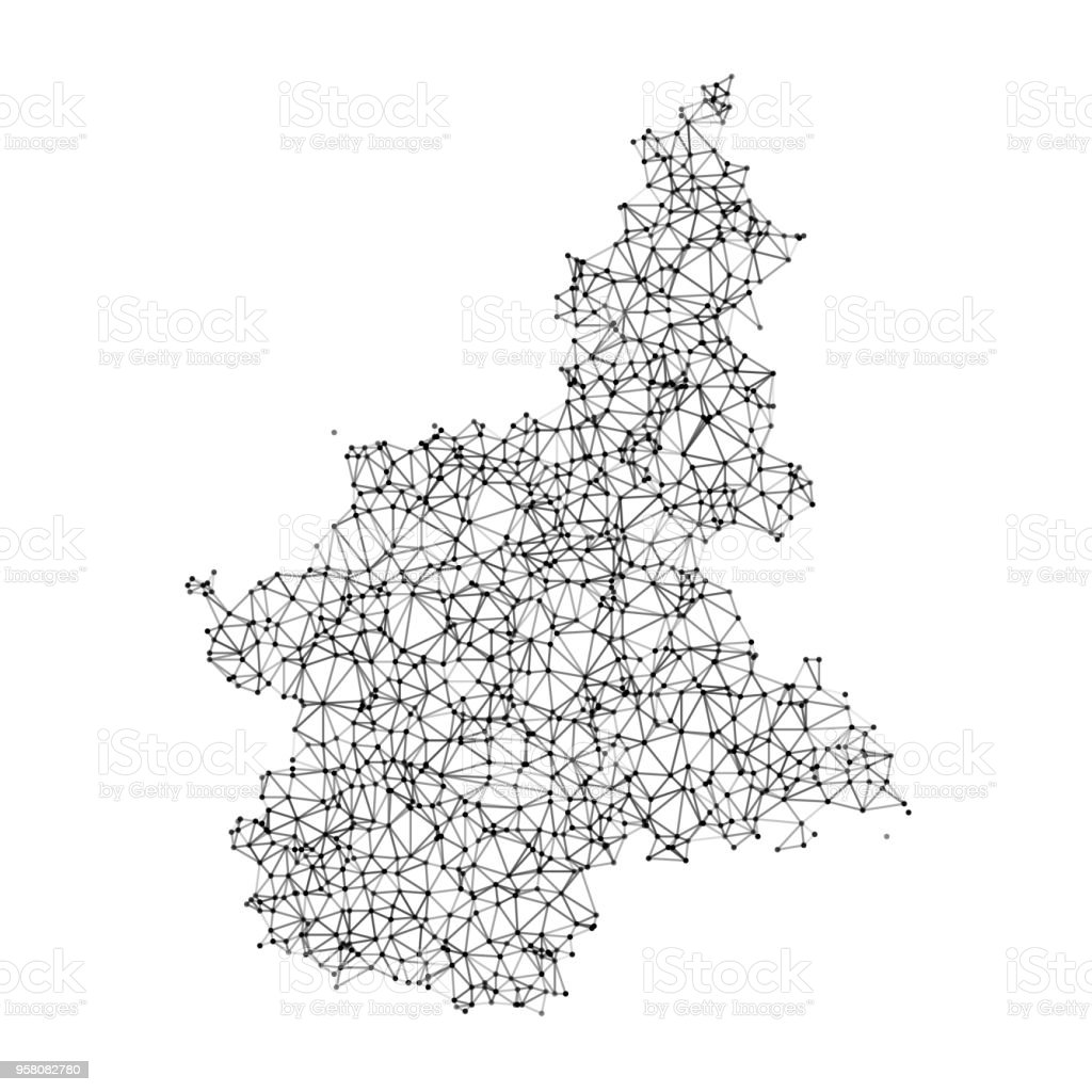 Black And White Map Of Italy.Italy Regions Piemonte Map Network Black And White Stock