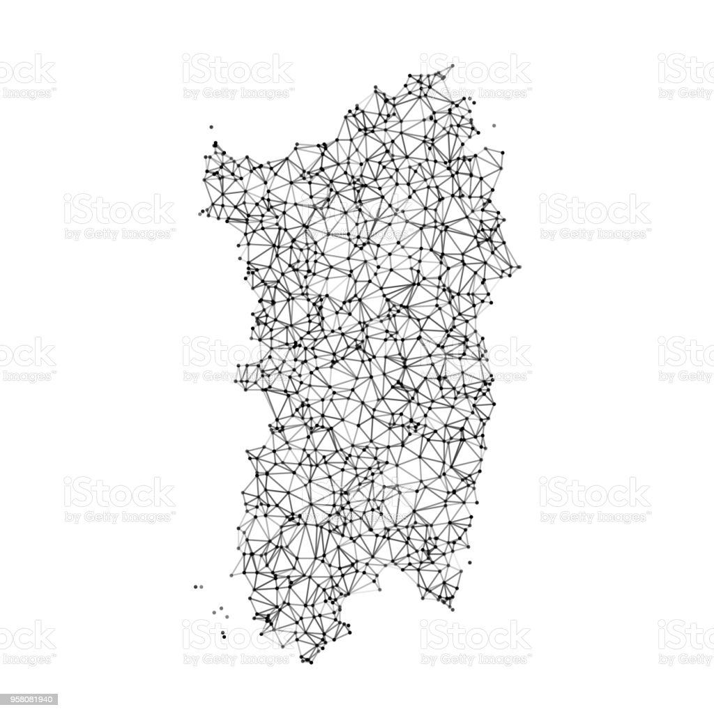 Black And White Map Of Italy.Italy Regions Sardegna Map Network Black And White Stock