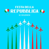 Italy Republic Day June 2nd in Italian hand lettering with airplanes and air show in sky. Easy to edit vector template for typography poster, banner, flyer, sticker, t-shirt, greeting card, postcard.