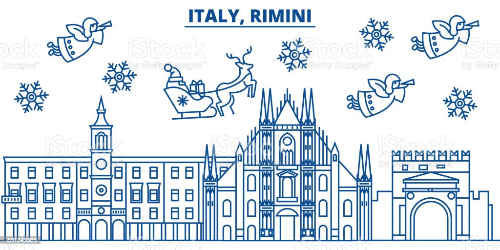 Italy, Rimini winter city skyline. Merry Christmas, Happy New Year decorated banner with Santa Claus.Winter greeting line card.Flat, outline vector.Linear christmas snow illustration vector art illustration