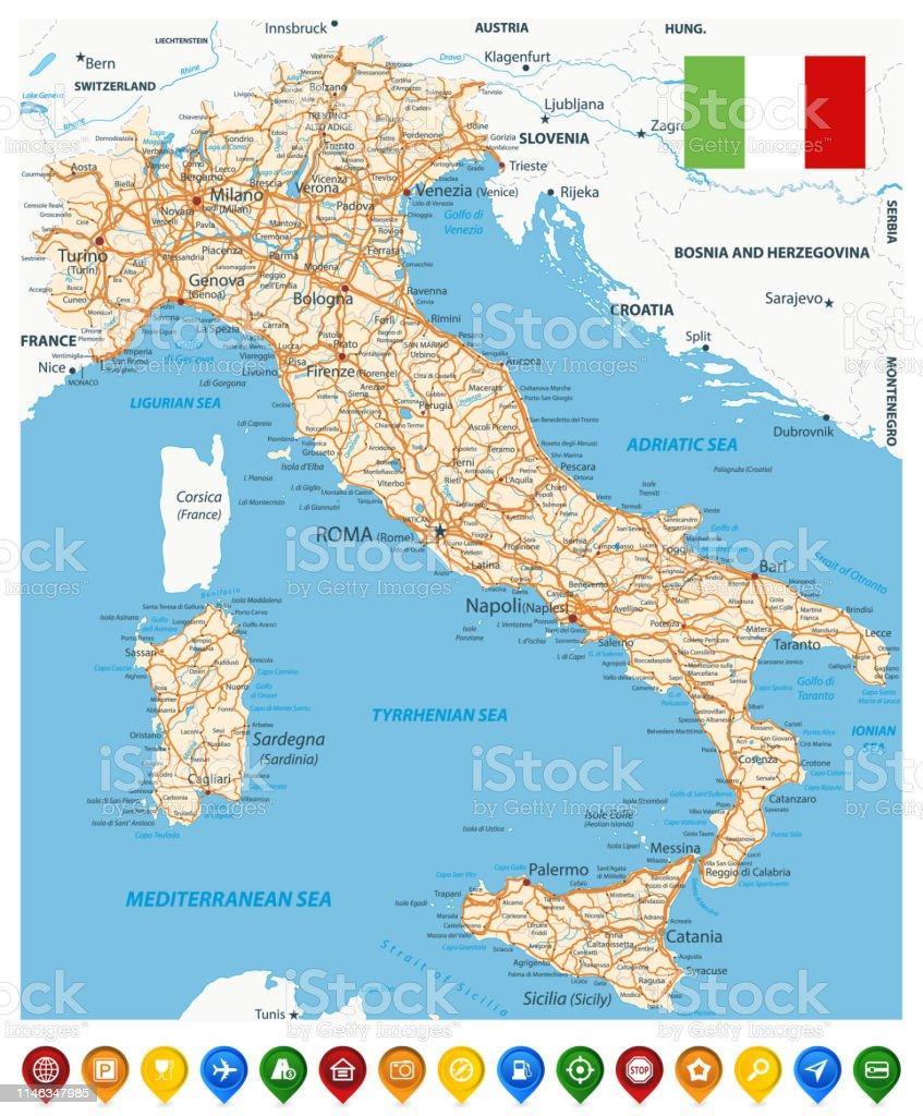 Cartina Stradale Di Italia.Mappa Stradale Italia E Puntatori A Mappe Colorate Immagini Vettoriali Stock E Altre Immagini Di Autostrada Istock