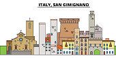 Italy, San Gimignano. City skyline, architecture, buildings, streets, silhouette, landscape, panorama, landmarks, icons. Editable strokes. Flat design line vector illustration concept