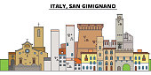 Italy, San Gimignano. City skyline, architecture, buildings, streets, silhouette, landscape, panorama, landmarks, icons. Editable strokes. Flat design line vector illustration concept