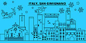 Italy, San Gimignano winter holidays skyline. Merry Christmas, Happy New Year decorated banner with Santa Claus.Flat, outline vector.Italy, San Gimignano linear christmas city illustration