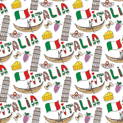 Italy seamless pattern with flag and culture elements. Vector doodle travel background. Handwriting Italia lettering in italian language - Italy