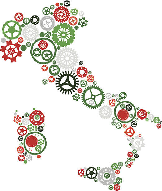 Italy Shaped Cogs vector art illustration