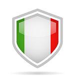 Italy - Shield Flag Vector Glossy Icon