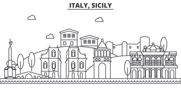 italy, sicily architecture line skyline illustration. linear vector cityscape with famous landmarks, city sights, design icons. landscape wtih editable strokes - sicily stock illustrations