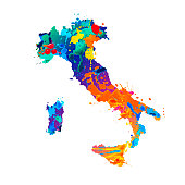 Italy. Silhouette of Italian map of watercolor splash paint
