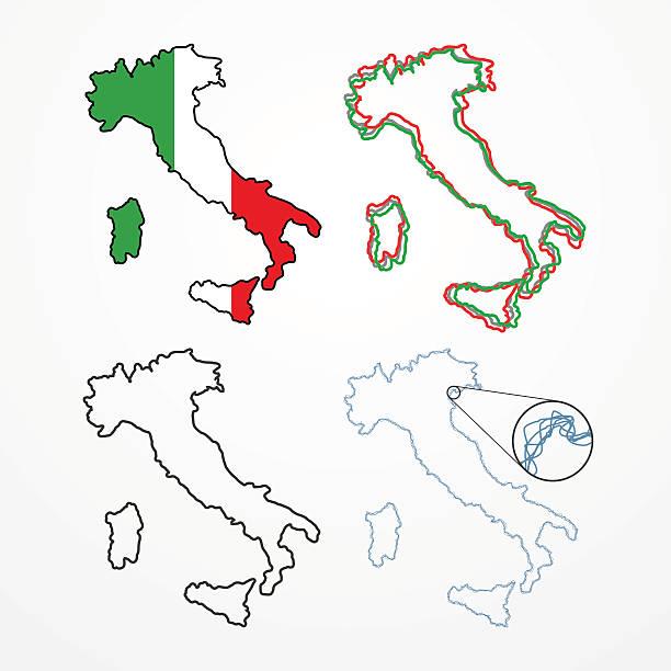 illustrazioni stock, clip art, cartoni animati e icone di tendenza di sagoma impostare italia - sardegna