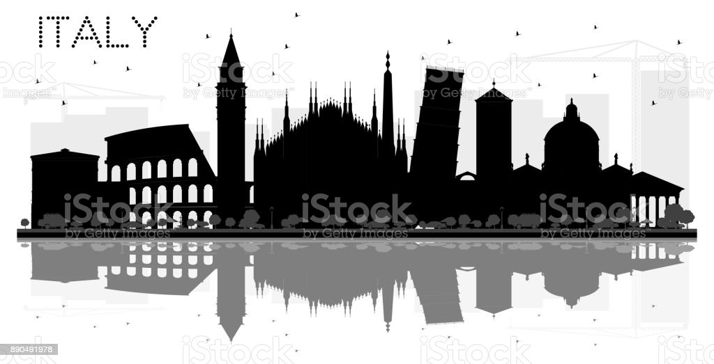 Italy skyline black and white silhouette with Reflections. vector art illustration