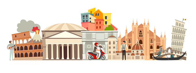 Italy skyline colorful background. Famous Italy building
