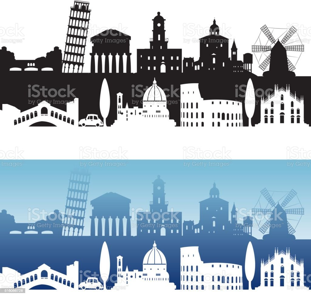 Italia vista sullo Skyline - arte vettoriale royalty-free di Affari finanza e industria