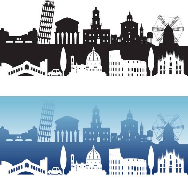 illustrazioni stock, clip art, cartoni animati e icone di tendenza di italia vista sullo skyline - palermo città