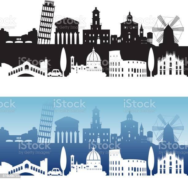 Italia Vista Sullo Skyline - Immagini vettoriali stock e altre immagini di Affari finanza e industria