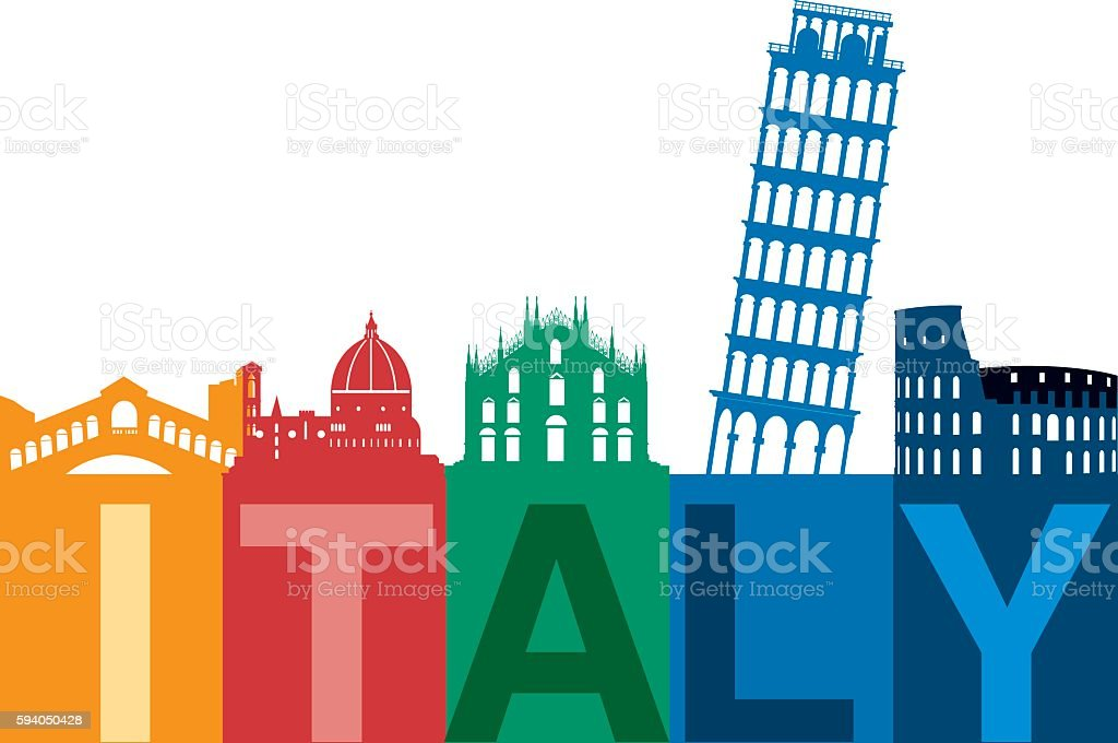 Italy Skyline vector art illustration