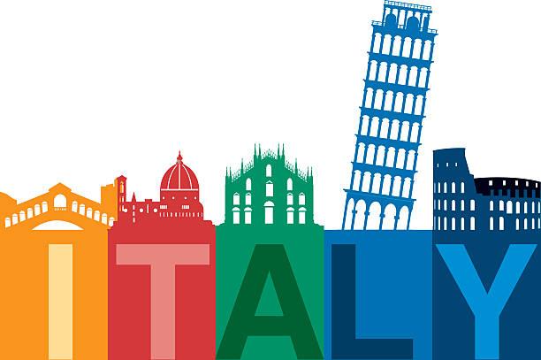 illustrazioni stock, clip art, cartoni animati e icone di tendenza di italia vista sullo skyline - milan fiorentina
