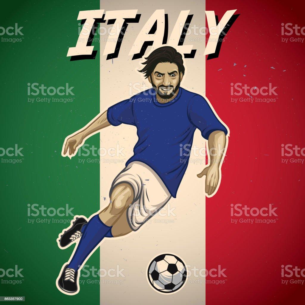 jogador de futebol de Itália com fundo bandeira - ilustração de arte em vetor