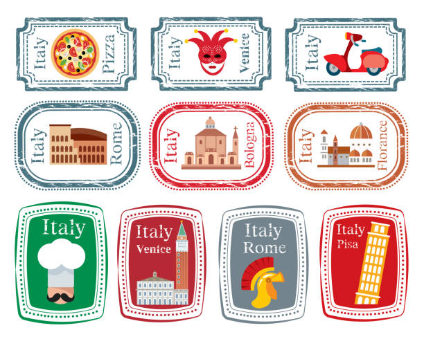 italien-briefmarke - pompeii stock-grafiken, -clipart, -cartoons und -symbole