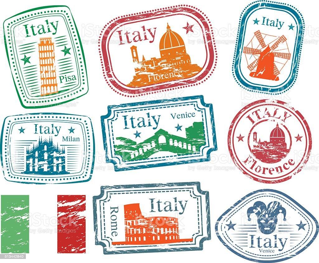 Italia francobolli - arte vettoriale royalty-free di Bandiera dell'Italia