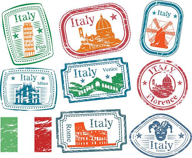 illustrazioni stock, clip art, cartoni animati e icone di tendenza di italia francobolli - firenze