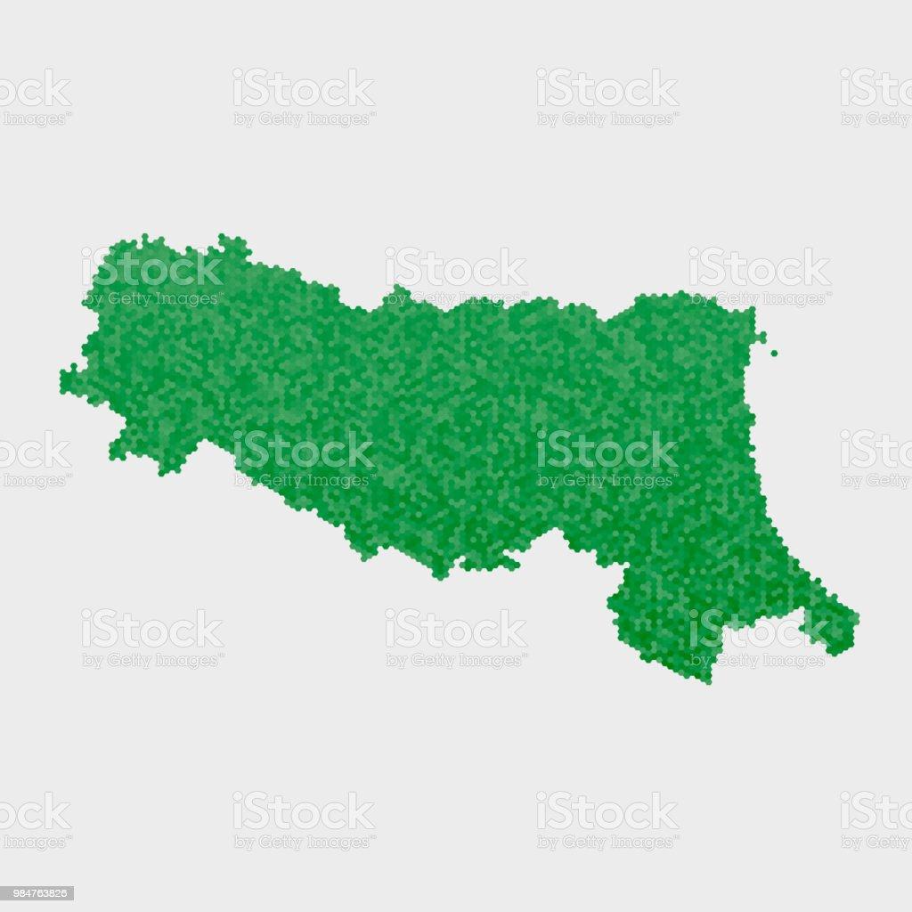 Carte Italie Emilia Romagna.Etat De Litalie Emilia Romagna Carte Hexagone Vert Motif