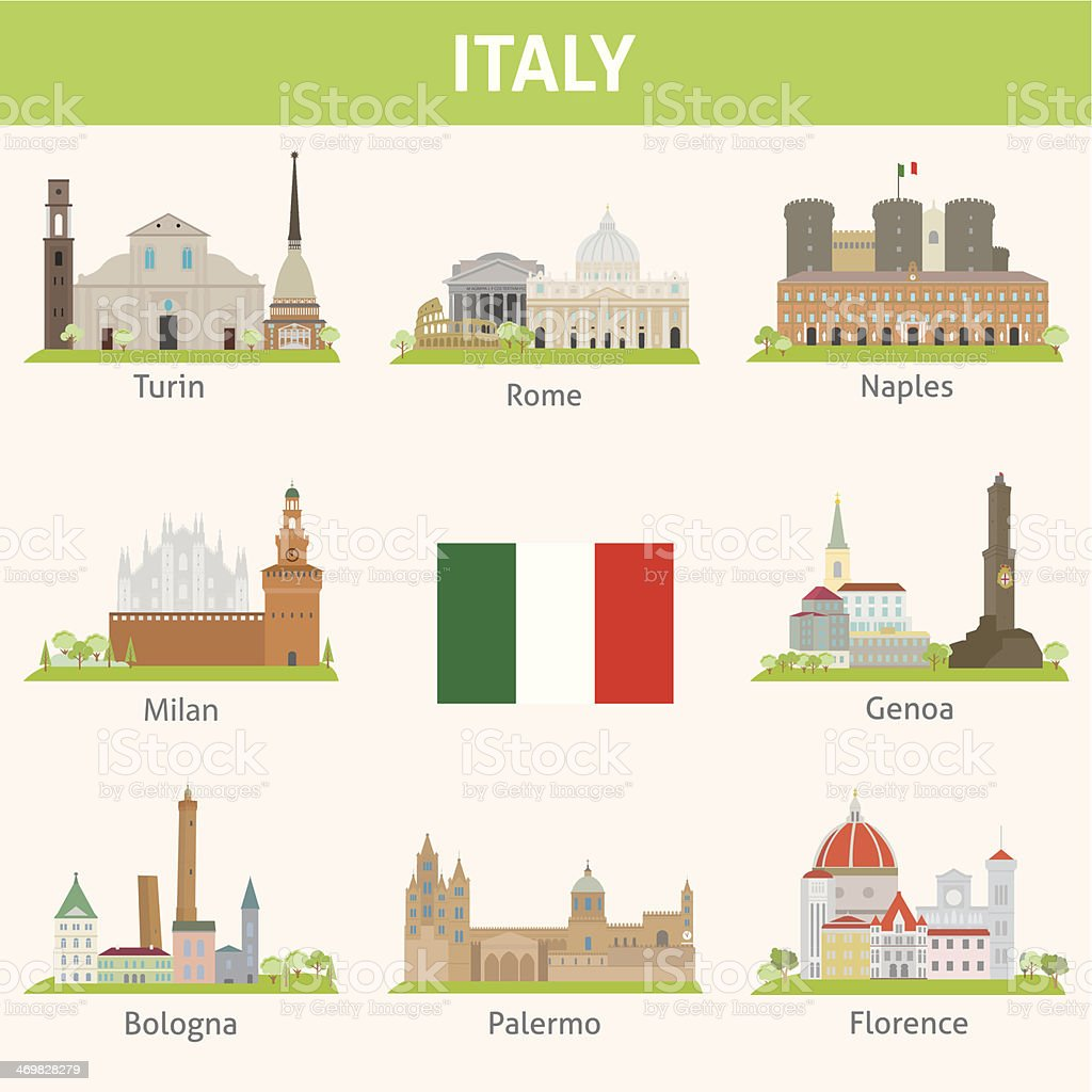 Italy. Symbols of cities vector art illustration