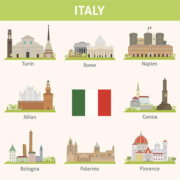 illustrazioni stock, clip art, cartoni animati e icone di tendenza di italia.  simboli della città - palermo città