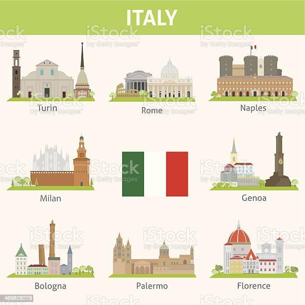 Italia Simboli Della Città - Immagini vettoriali stock e altre immagini di Albero
