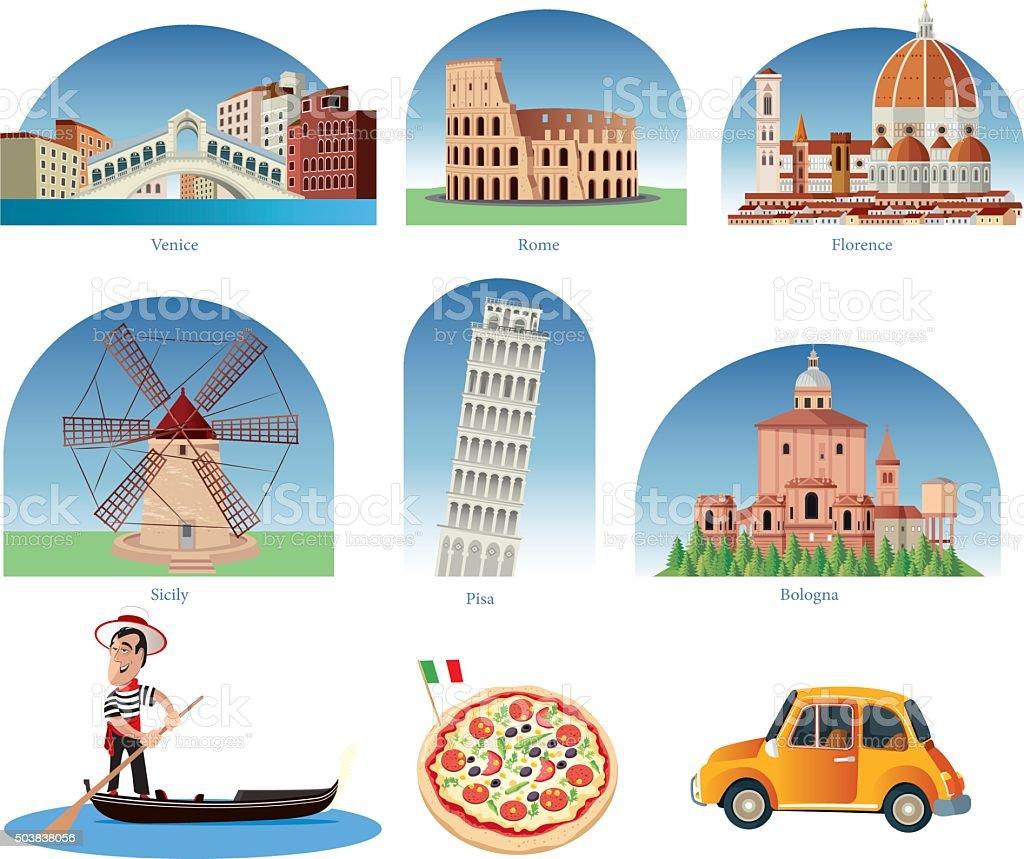 Italia simboli - arte vettoriale royalty-free di 2015