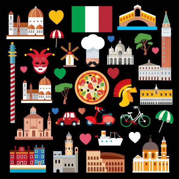 illustrazioni stock, clip art, cartoni animati e icone di tendenza di italy symbols - milan fiorentina