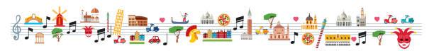 illustrazioni stock, clip art, cartoni animati e icone di tendenza di italy symbols with sheet music - palermo città