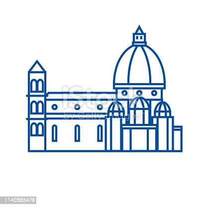 istock Italy, temple, florence cathedral line icon concept. Italy, temple, florence cathedral flat  vector symbol, sign, outline illustration. 1140583476
